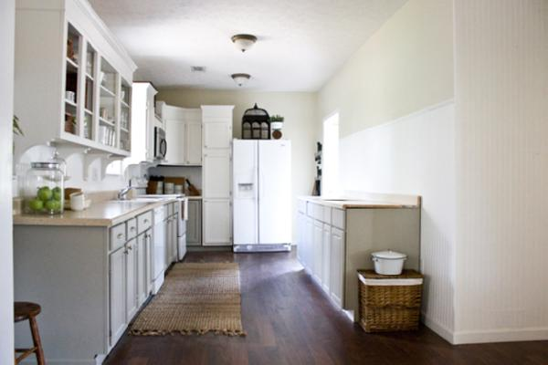 Painted Soft Gray Kitchen Cabinets And Open Shelves.