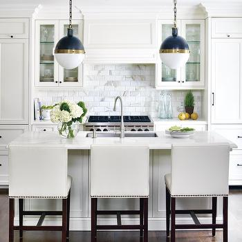 White Leather Counter Stools, Contemporary, kitchen