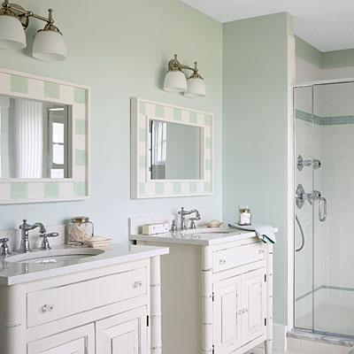 ivory faux bamboo bathroom double vanity vanities stone countertops chrome fixtures ivory seafoam green mirrors and seafoam green walls - Seafoam Green Bathroom Ideas