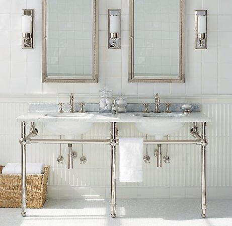 Gramercy double metal washstand Double sink washstand
