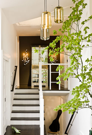 Black Accent Wall Eclectic Entrance Foyer Jessica
