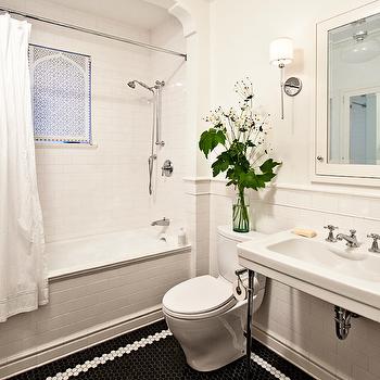 Black Hex Tiles, Transitional, bathroom, Jessica Helgerson Interior Design