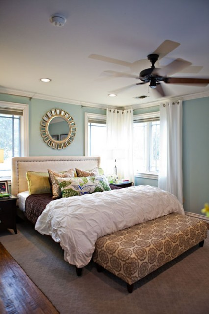 mirror nightstand  contemporary  bedroom  benjamin moore silken, Headboard designs