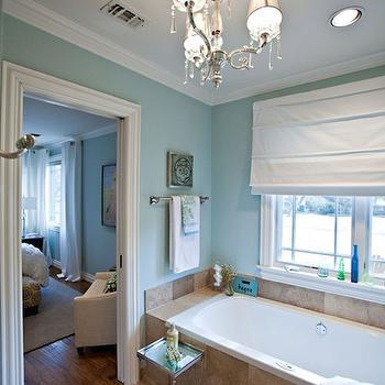 interiors chic and spa like master bathroom spa blue walls paint color
