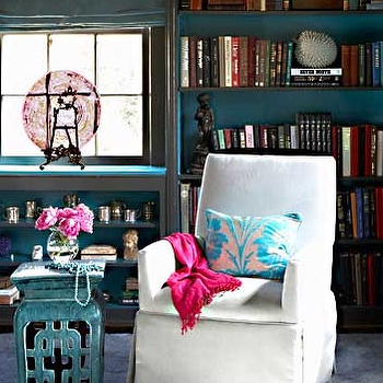 Turquoise Stool, Contemporary, den/library/office, Jean Allsopp Photography