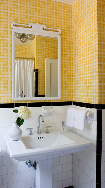 Yellow geometric wallpaper transitional bathroom for Bathroom ideas yellow tile