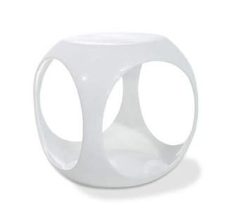 Bellacor White Slick Cube Occasional Table View Full Size