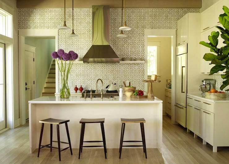 Geometric Kitchen Backsplash Transitional Kitchen