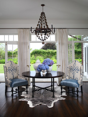 Black And White Zebra Rug Transitional Dining Room