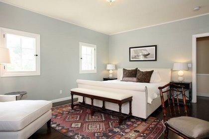 Blue gray walls transitional bedroom farrow ball for Farrow and ball los angeles