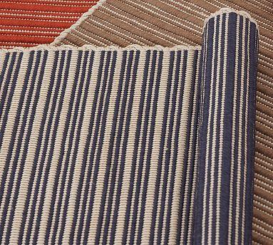 Reversible Striped Indoor/Outdoor Rug - Blue - Pottery Barn