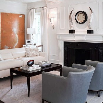Natural Woven Accent Chairs in Circular Formation with Fireplace ...