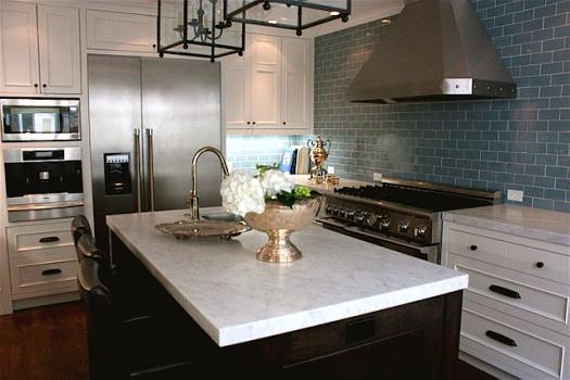 Blue Subway Tiles Contemporary Kitchen Kimberly Ayres