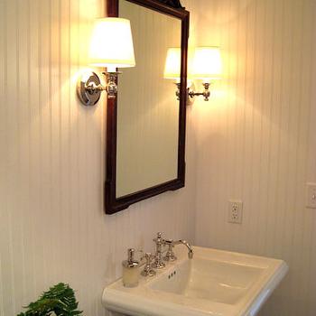 Powder Room with Beadboard, Cottage, bathroom, Summer Thornton Design