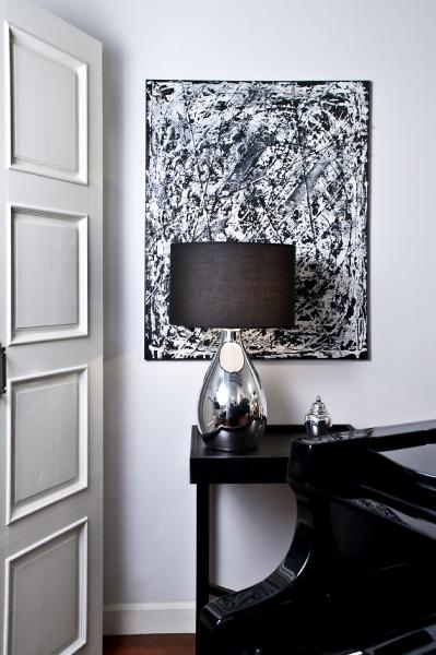 Tear drop floor lamp design ideas monochromatic space pale grey wall colour polished chrome lamp with black silk shade and glossy black accents aloadofball Gallery