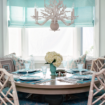 Turquoise Dining RoomRound Dining Room with White Bamboo Dining Chairs   Contemporary  . Round Seat Cushions For Dining Room Chairs. Home Design Ideas
