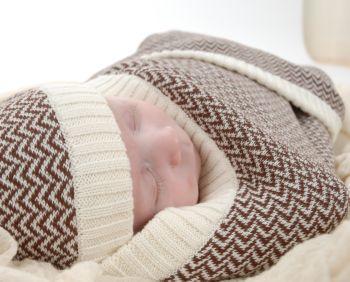618b0dde9 Brown Herringbone Baby Blanket and Hat