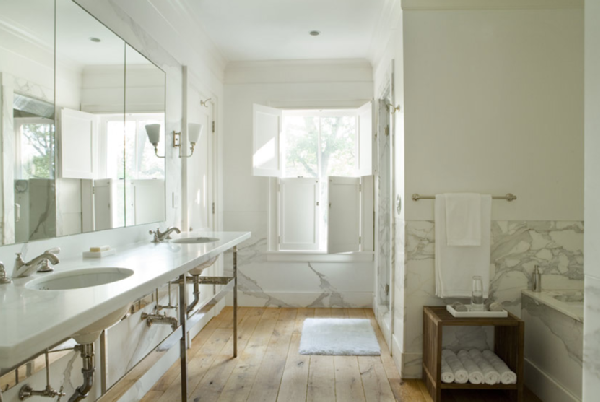 Plank Floors Transitional Bathroom Eric Roth Photo