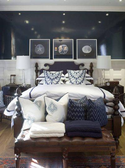 Navy blue bedroom design cottage bedroom phoebe howard for Blue white and silver bedroom ideas