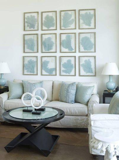 White U0026 Blue Coastal Beachy Living Room Design With Gray Slip Covered Sofa,  Blue Lamp, Black Modern Coffee Table, Black End Tables And Blue Coral Art  ... Part 86