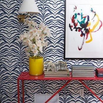 Wallpaper for Foyer, Contemporary, entrance/foyer, Mona Ross Berman Interiors