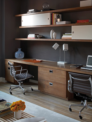 shelves over desk contemporary den library office s. Black Bedroom Furniture Sets. Home Design Ideas
