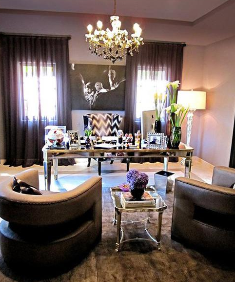 Khloe Kardashian Home Office Mirrored desk, lilac purple silk drapes ...