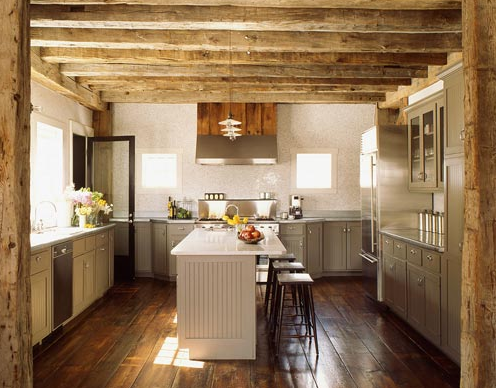 Rustic wood beams design ideas for Rustic white kitchen cabinets