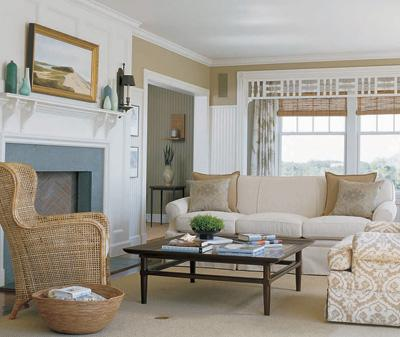 Etonnant Living Room#2 Wicker Wingback Chair, Fireplace, White Rolled Arm Sofa,  Coffee Table And Sisal Rug.