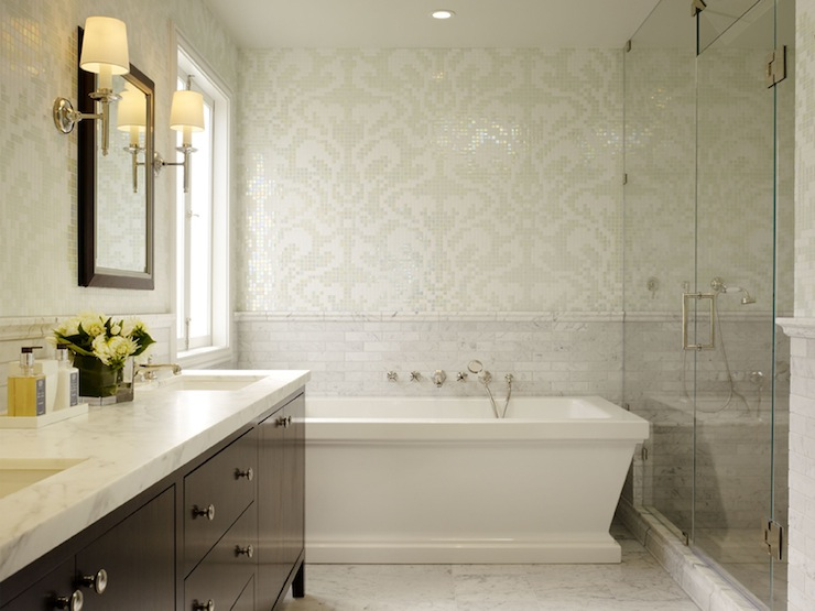 Damask tiles for bathroom transitional bathroom for Brown tile bathroom ideas