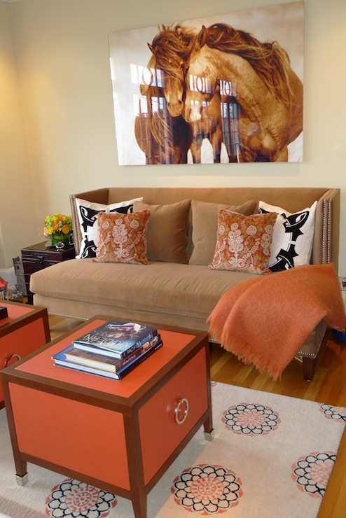 Brown U0026 Orange Living Room Design With Horse Art, Camel Brown Velvet  Wingback Sofa, Orange Throw Blanket, Camel Brown Pillow, Orange Pillows,  Black U0026 White ... Part 97