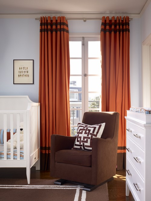 Orange and brown curtains contemporary nursery - Curtains with orange walls ...