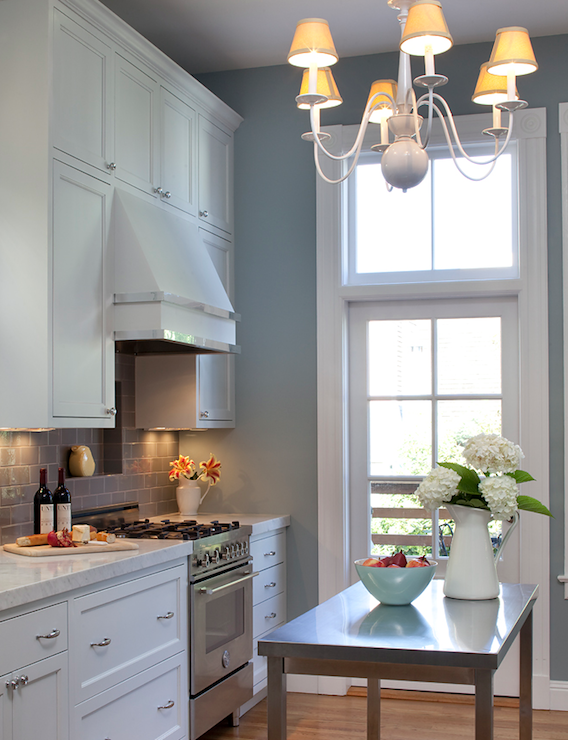 Gray subway tile transitional kitchen for Blue gray kitchen cabinets