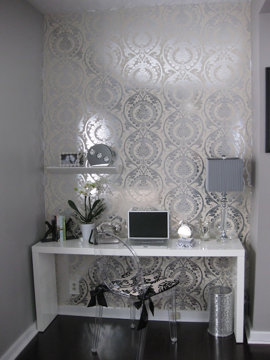 White lacquer desk contemporary den library office for Black and grey bedroom wallpaper