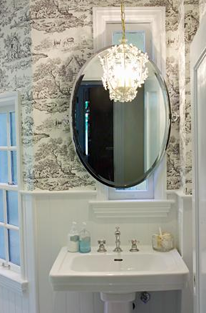 Toile Wallpaper Eclectic Bathroom Artistic Designs