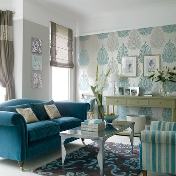 Turquoise Sofa, Contemporary, living room, House to Home
