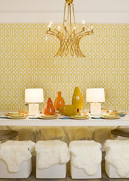 White   yellow chic dining room design with brass chandelier  yellow  imperial trellis wallpaper  white dining room table with nailhead trim   lamps and white. Yellow Dining Chairs   Contemporary   dining room   Jeneration
