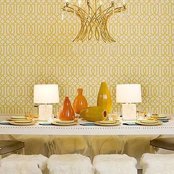 Imperial Trellis Wallpaper, Eclectic, dining room, Blount Design