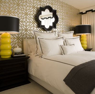 chic yellow gray and black bedroom design metallic silver and gold geometric wallpaper black quatrefoil mirror black mirror bright yellow gourd lamps