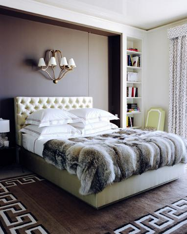 Greek key floor eclectic bedroom pamplemousse design for White fur bedroom