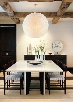 Modern Dining Space Glossy White Lacquer Room Table Knoll Risom Black Chairs With Parachute Straps Buffet Striped Rugs