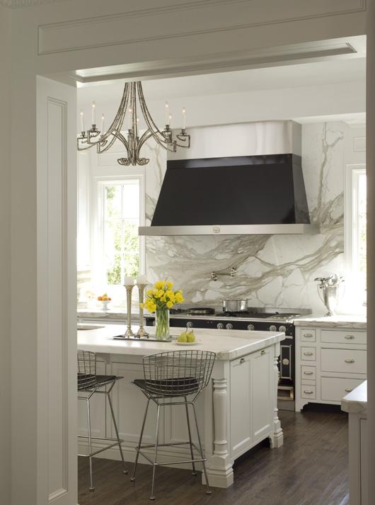 French range hood transitional kitchen elle decor - Stunning backsplash designs for behind ranges ...