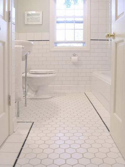 clean white bathroom hexagon tiles white subway tiles backsplash and