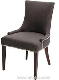 RV 7320 Dark Fabric Dining Chair With Metal Studs