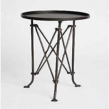 Round Brown Metal Accordion Side Table