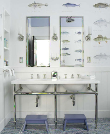 Wallpaper For Boys Bathroom Cottage Bathroom Shaun Jackson Design
