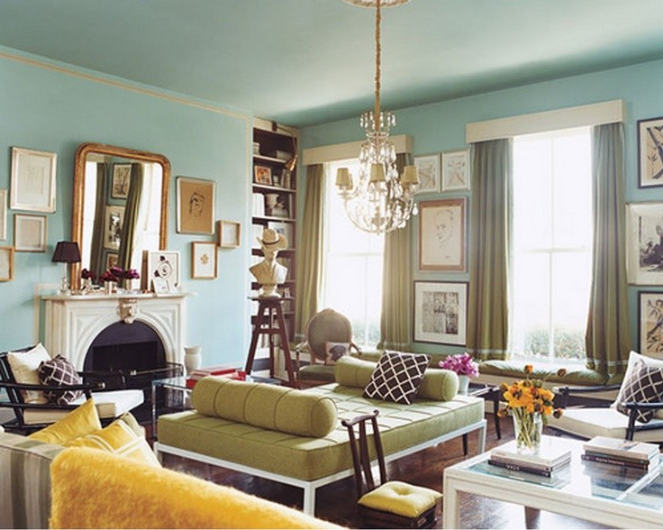 Turquoise living room eclectic living room massucco for Blue wall living room ideas