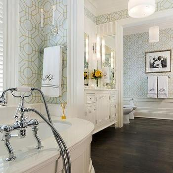 brewster heather geometric wallpaper transitional bathroom taylor hannah architect. Black Bedroom Furniture Sets. Home Design Ideas