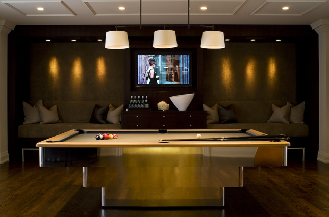 Pool Table Light Ideas 25 best ideas about industrial pool table lights on pinterest bar lighting mancave ideas and man cave Gold Pool Table Espresso Brown Media Unit Flat Screen Tv Built Ins Velvet Taupe Benches Silk Gray Pillows And Triple Pendant Drum Pendant Lights