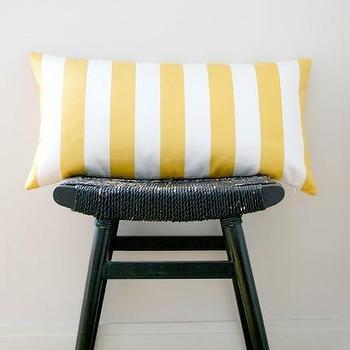YELLOW WHITE STRIPES Cotton Pillow Cover Cushion 63 by bestillshop